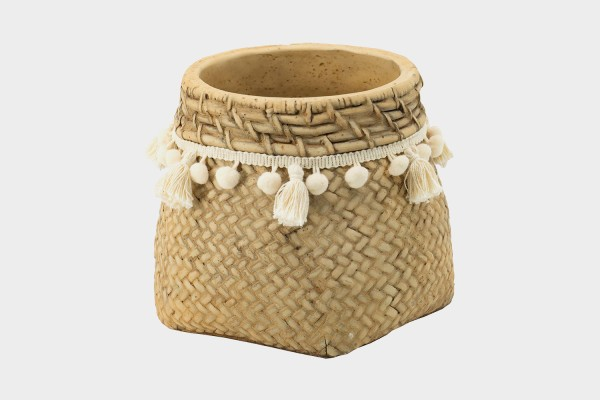 Basket Weave Taselled Planter Small