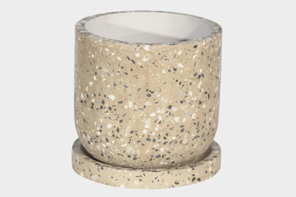 Terrazo Textured Planter With Saucer Cement